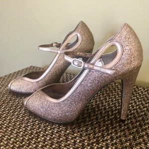 Muliticolored sparkly ankle strap heels by NINA